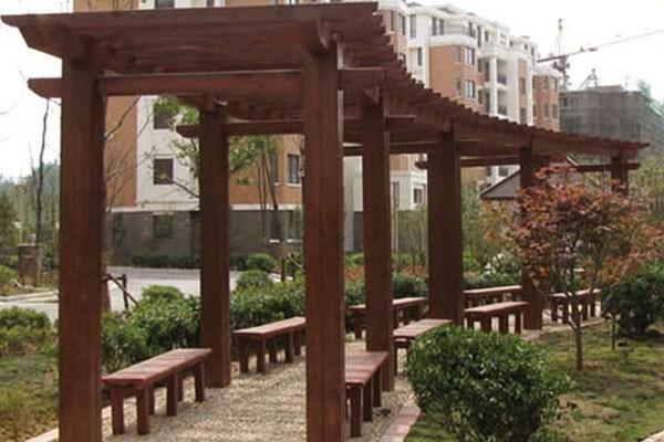 西宁绿景园林防腐木业 长廊花架 > 西宁防腐木 西宁木结构建筑 西宁